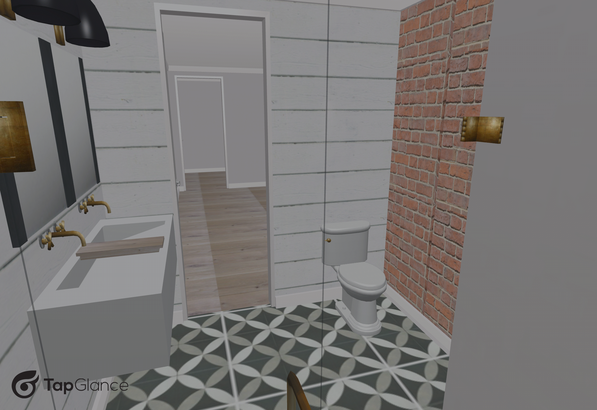 Here's an overall of the new bathroom complete with shiplap and brick for the walls and patterned tile for the floors.