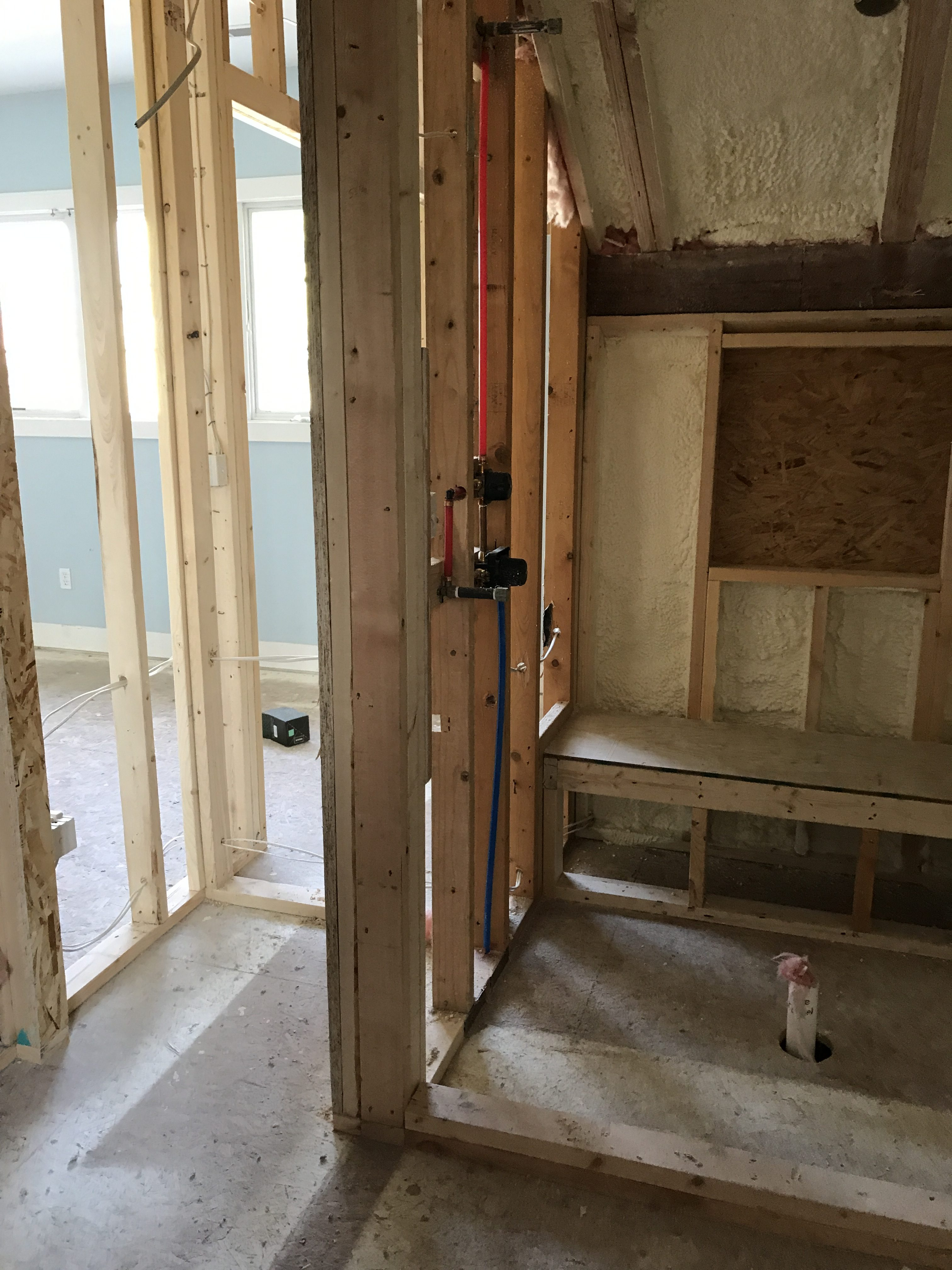 Here is the shower framing going in and beside is the linen closet.