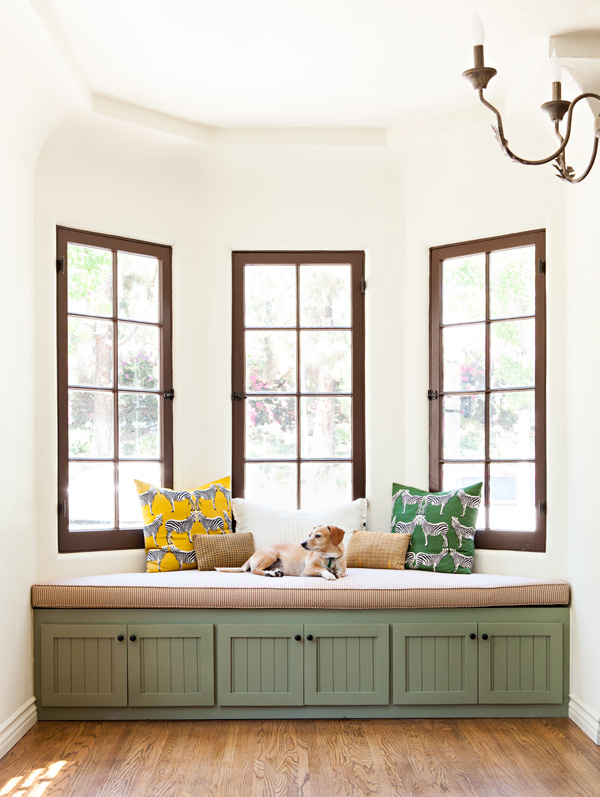 bungalow bay window after shot with 3 large windows and custom designed window seating.