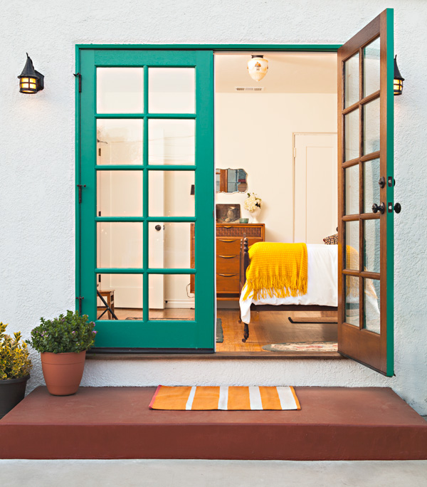 spanish bungalow french doors with bright painted refurbished doors