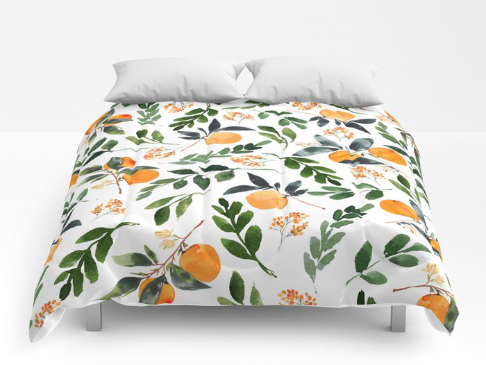 orange and orange leaves duvet cover for a fun summer linen