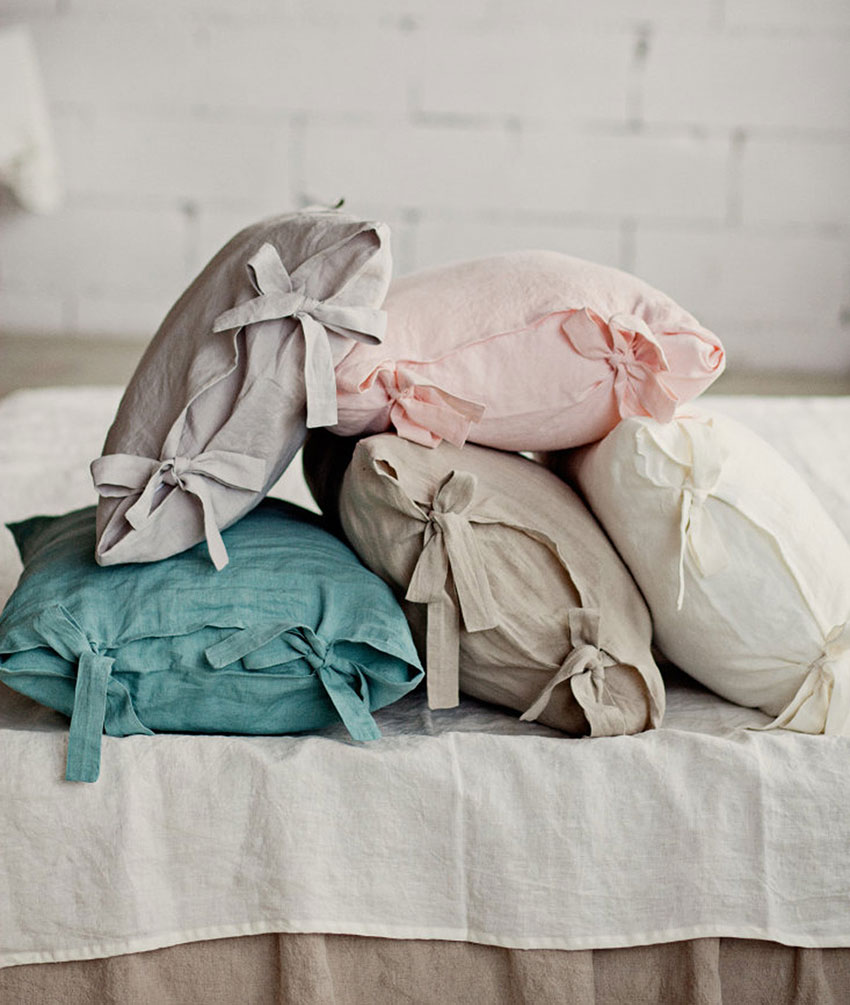 the perfect summer linen look: slub linen tie end pillow cases in pastel colors