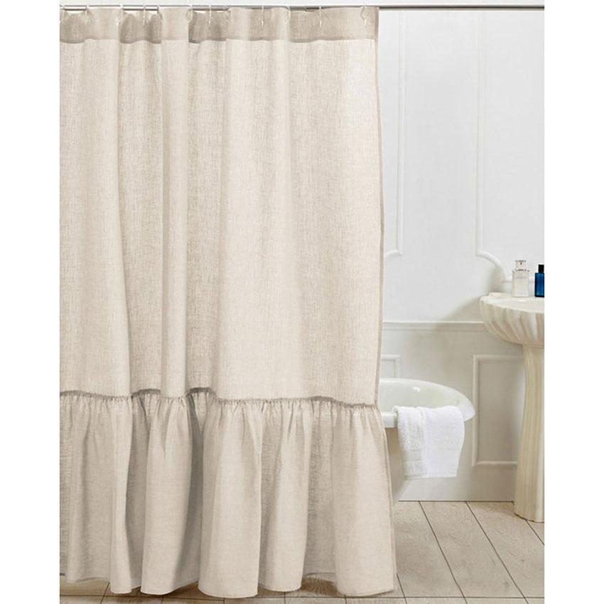 ruffle linen shower curtain