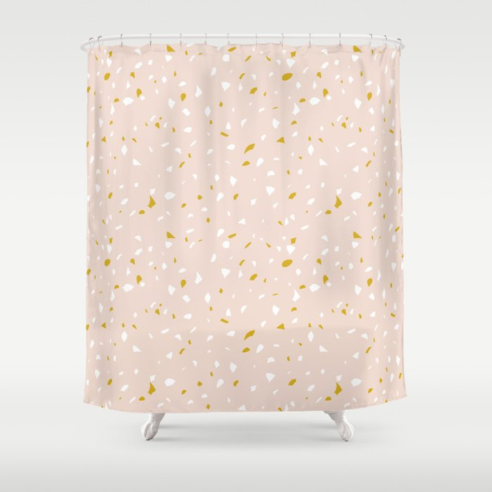 pink terrazzo inspired shower curtain with white and orange flecks