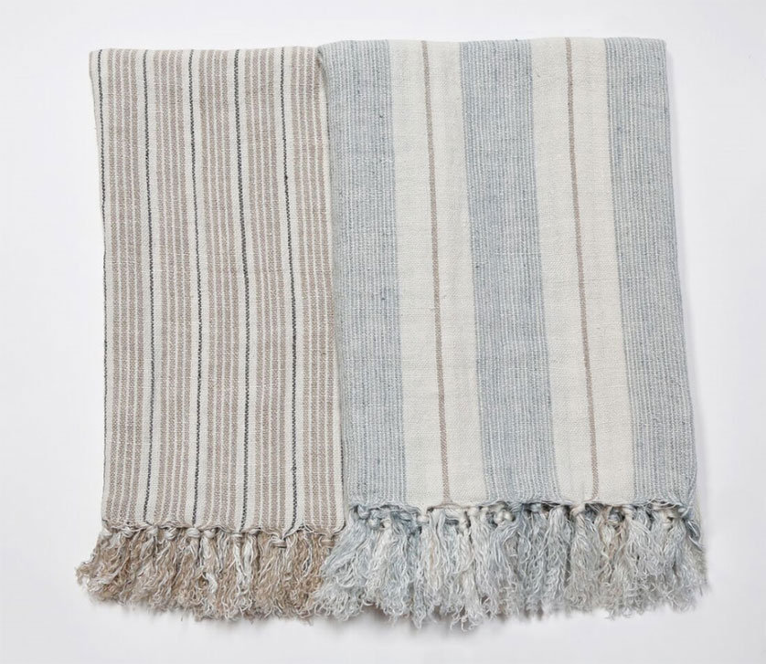 striped summer linen throws