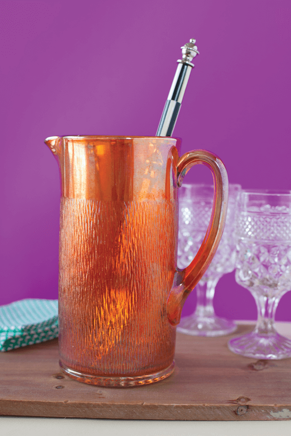 """This """"Tree Bark"""" pitcher was originally produced by Jeannette Glass Company in 1927 and would have been sold with a lid and matching glasses as a water set."""