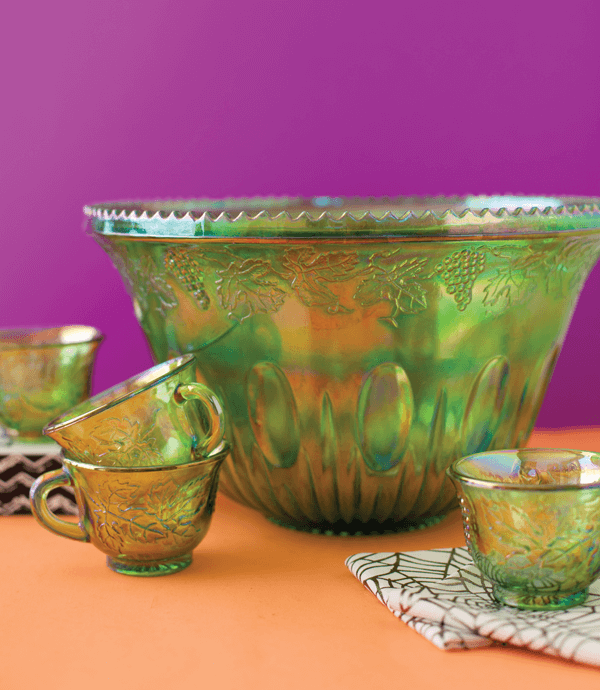 This is Indiana-green Carnival Glass Princess punch set is eye-catching with its high multihued luster.