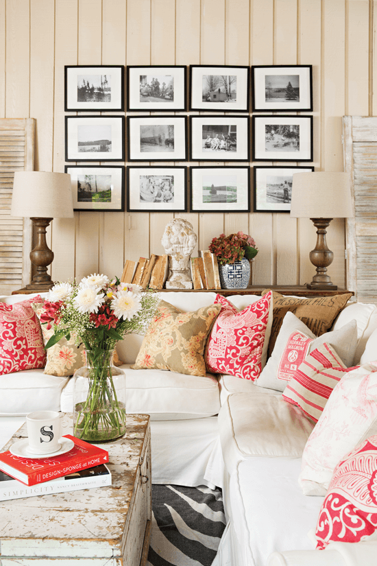 The original tongue-and-groove walls in the living room added texture. Since they form a classic backdrop for the room, Melaine can be more playful with other details, like mix-and-match pillow patterns and a quirky Zebra pattern rug.
