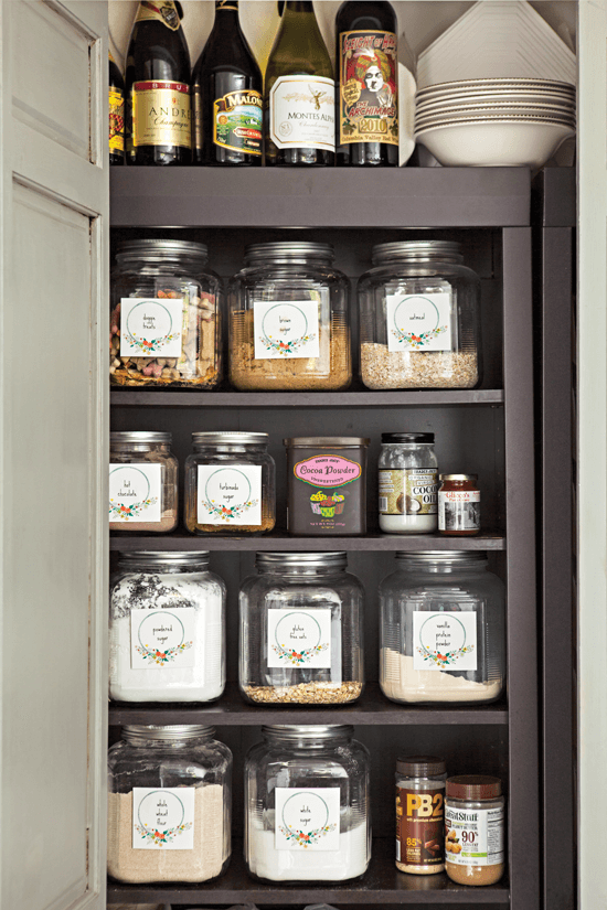 Since the home isn't gigantic, every bit of space is used effectively. Melaine fills her pantry from top to bottom with clear containers and labels.
