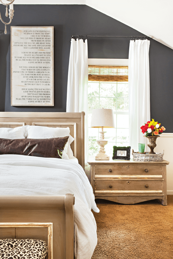 Melaine gave her master bedroom a stylish vibe by painting the walls gray, making it feminine but not overly girly.