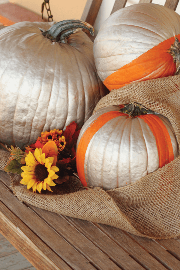 Give your pumpkin a fresh spin on a classic fall look with metallic paint.