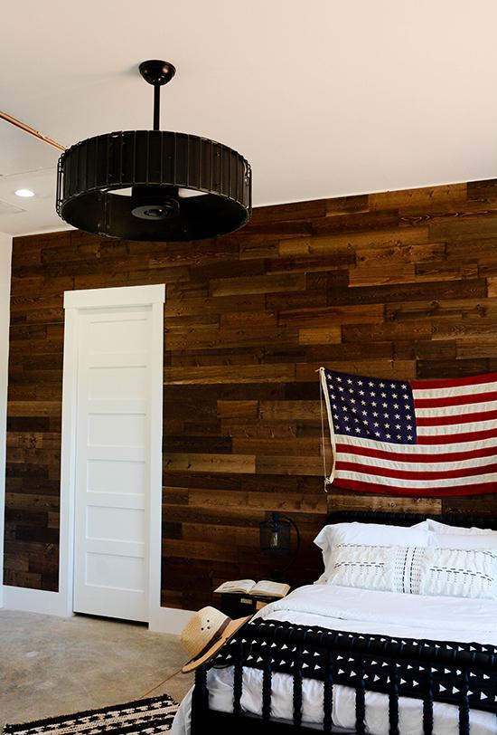 Woodgrain white 6-panel shaker door, shown here in a bedroom.