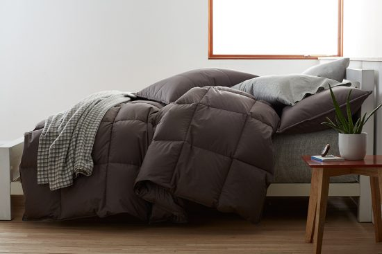 The LaCrosse Comforter from The Company Store is hypoallergenic and comes in a variety of colors and warmth levels to suit anyone's needs.