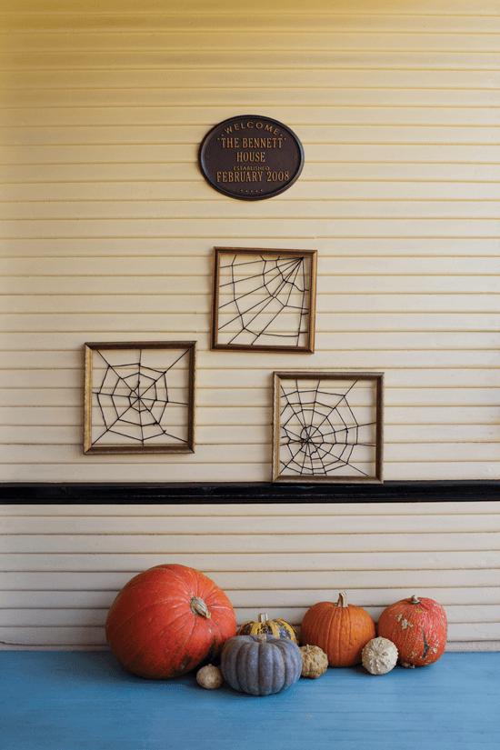 DIY spider web art for Halloween