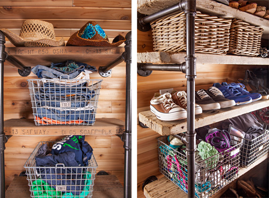Inside the cedar-lined closet, metal pipe clothes rods give a rustic industrial sensibility.