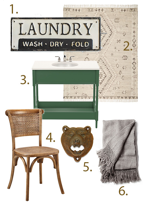 Old-school laundry sign (Gin Creek Kitchen), Skyline flatweave rug in heathered gray (Rejuvenation), Kensington small vanity in Peale Green (Oomph Home), Churchill dining chair (Rustic Trades Furniture), Rust-colored bear bottle opener (Stag Provisions), Awanay llama throw (Atacama Home).