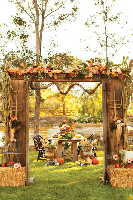 A harvest dinner outdoors inspired by farmhouse elements and vineyard romance.