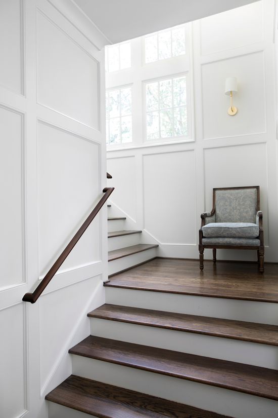 Wainscoting used on the walls in a stairway.