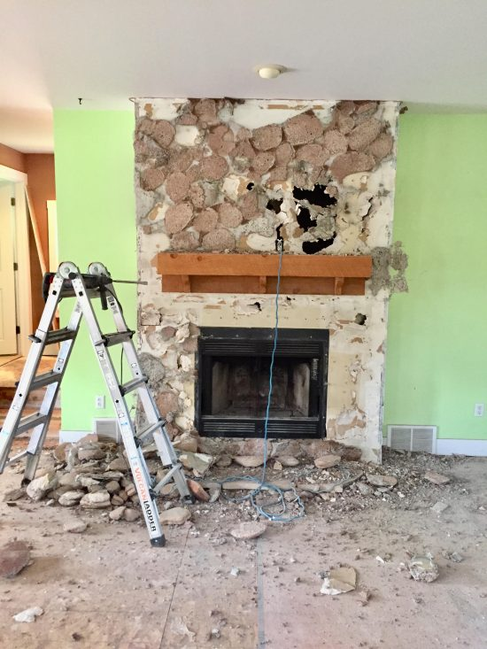 fireplace after demo with stone removed