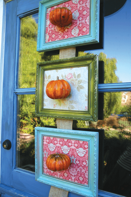 Think of unconventional ways to use conventional materials. Framed pumpkins make a kind of 3-D portrait.