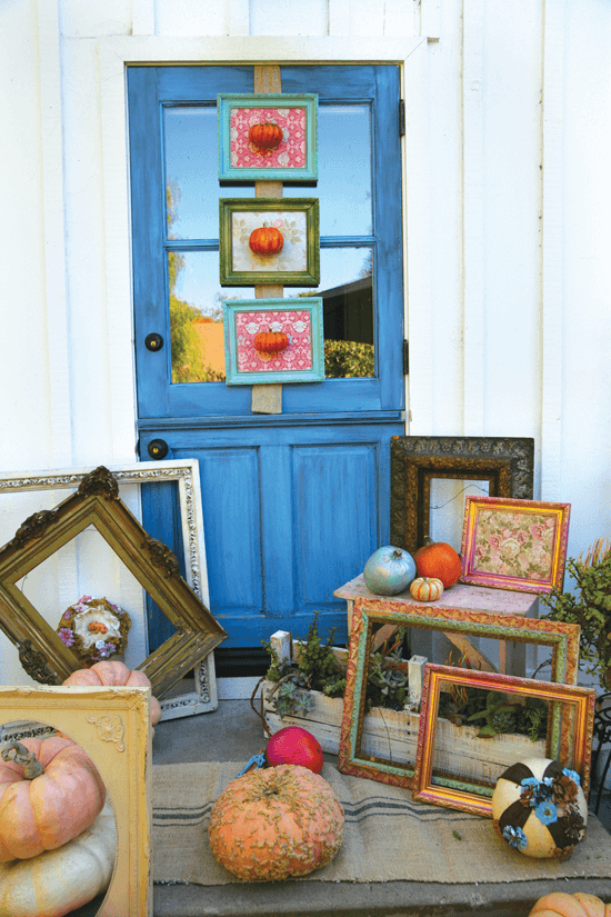 An assortment of colors, patterns and shapes shows off a vivacious personality. Layers of pumpkins and picture frames in varying sizes create dimension and depth.
