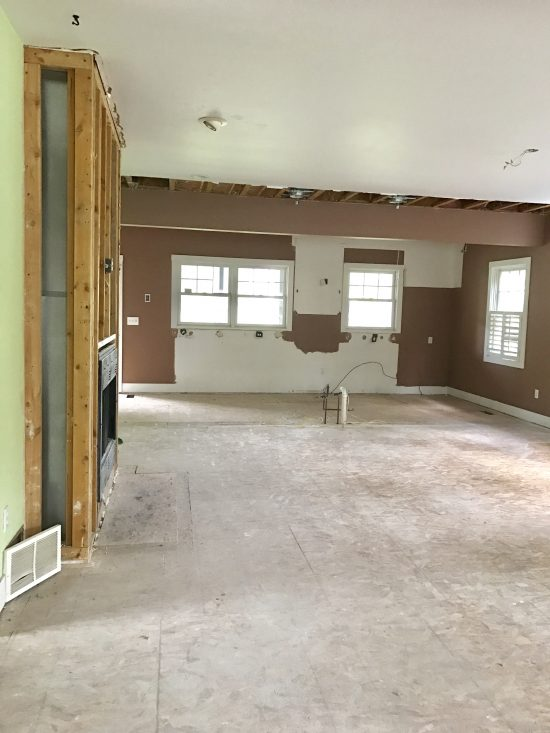 living room and kitchen after demo