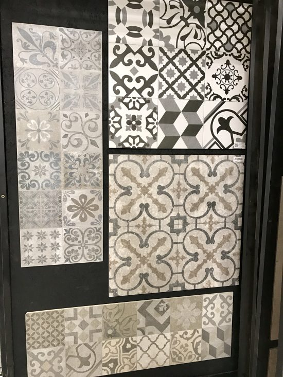 porcelain tile samples for the downstairs bathroom floor