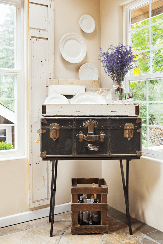 Here, an old suitcase serves as a display unit.