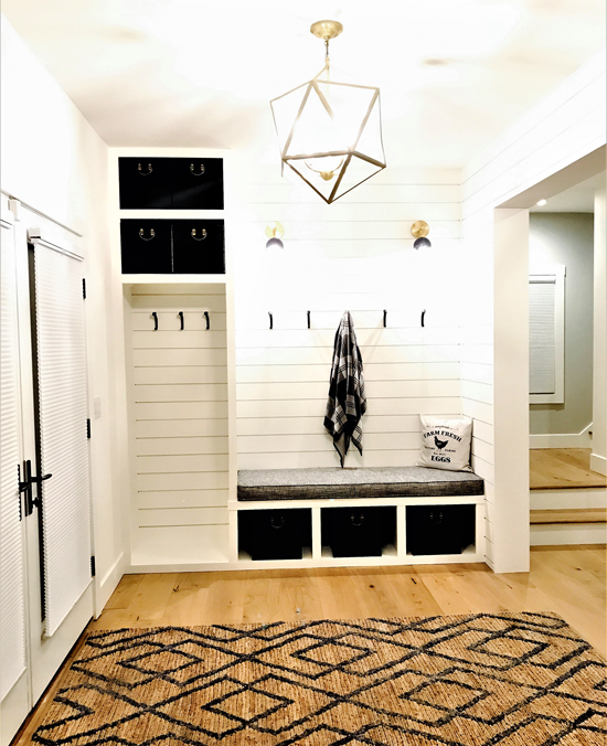 chic farmhouse-style mudroom after the remodel