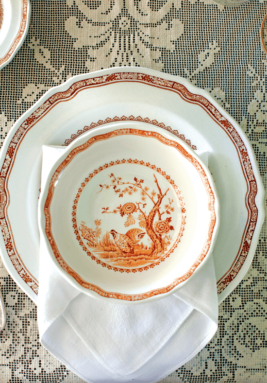 Transferware plates with ornate designs