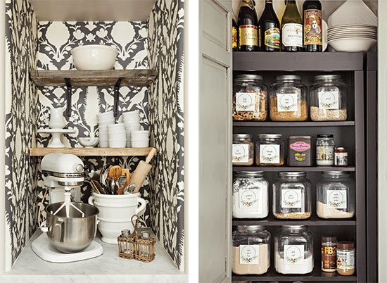 kitchen recesses baking station and pantry organization