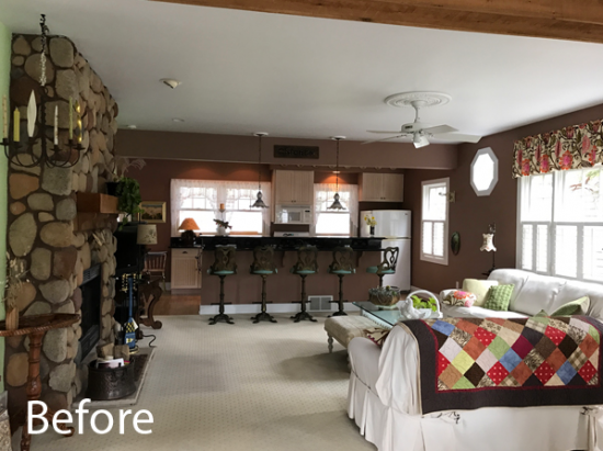 living room and kitchen prior to demo