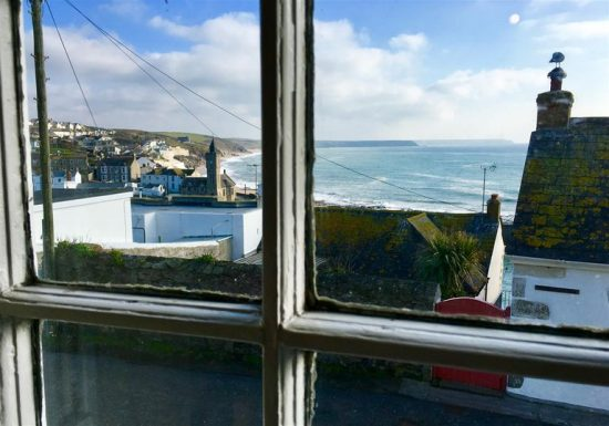 Seaside views from the windows of the tiny cottage.