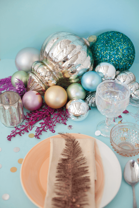 Oversized glittery ornaments make for the perfect pieces of sparkling Christmas décor centerpieces.