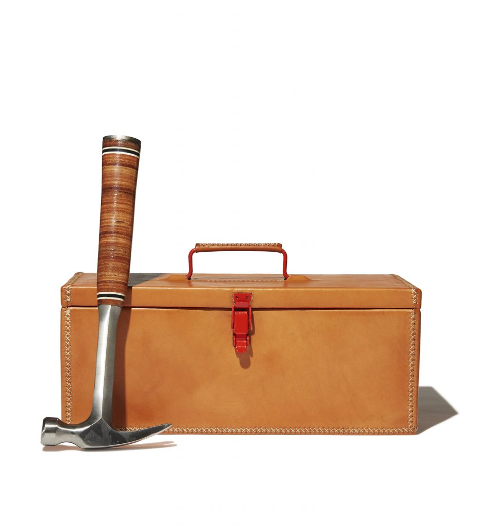 Made from 100% leather, this unique toolbox will house your repair guru's favorite tools in style.