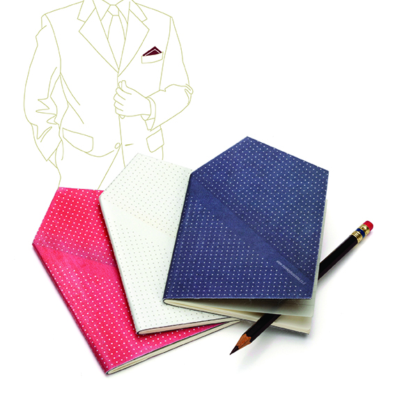 Is he studious and stylish? This handkerchief-looking notebook can be tucked into his breast pocket to look like a pocket square. Hankie pocketbook