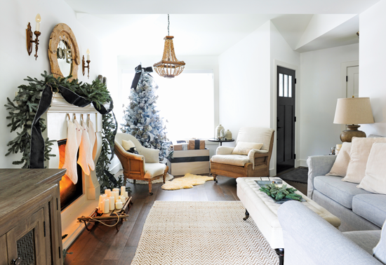 Living room with fireplace and French Christmas décor. // Cottages & Bungalows