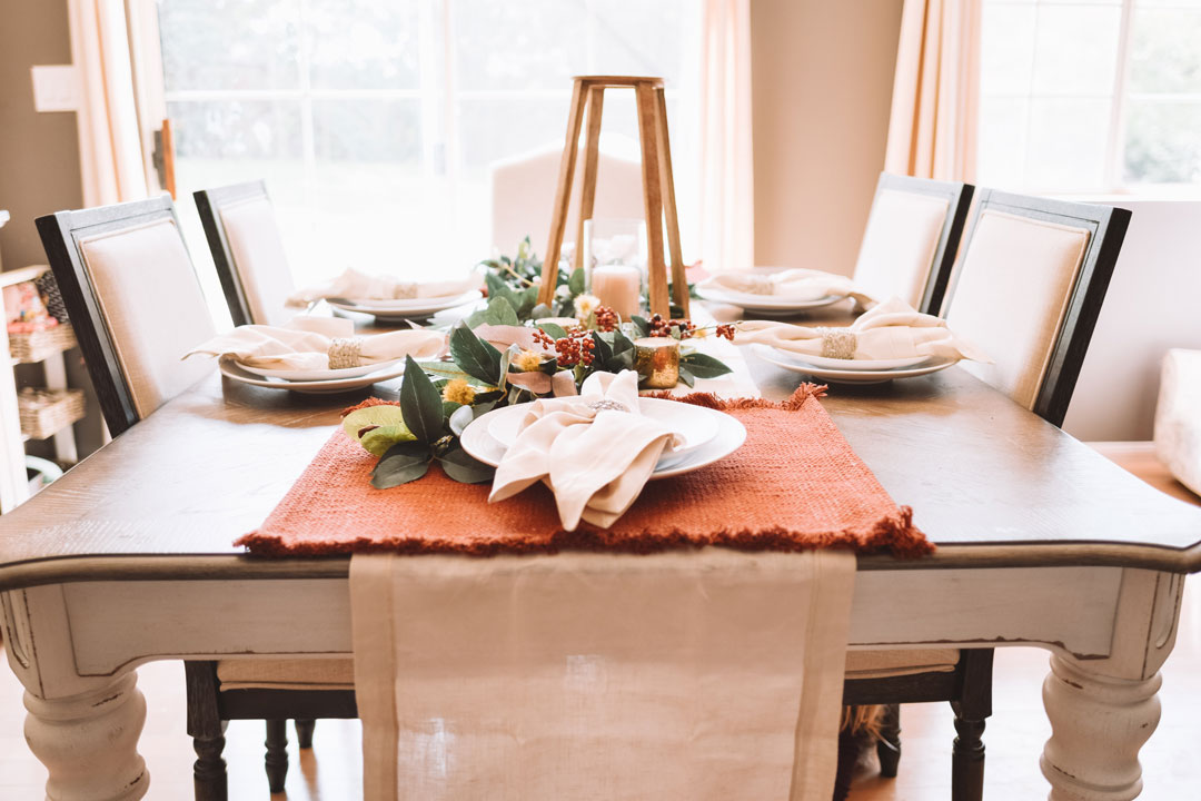 A holiday tablescape by Overwhelmed Mommy