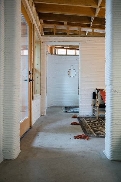 the interior of a 3D printed home