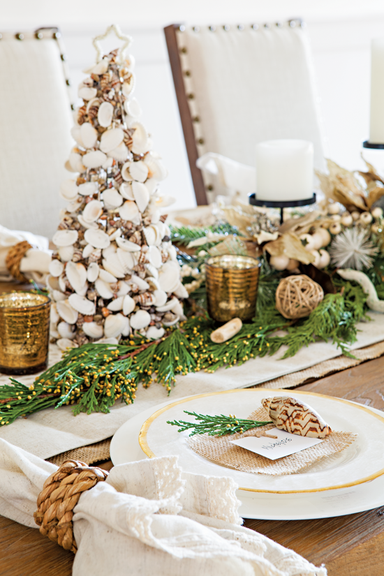 Up-close of modern beach cottage Christmas table-setting.