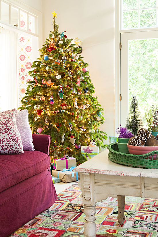 christmas tree in a colorful cottage