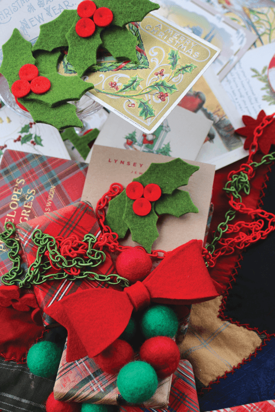 Holiday handmade gifts crafted from felt by Lynsey Walters