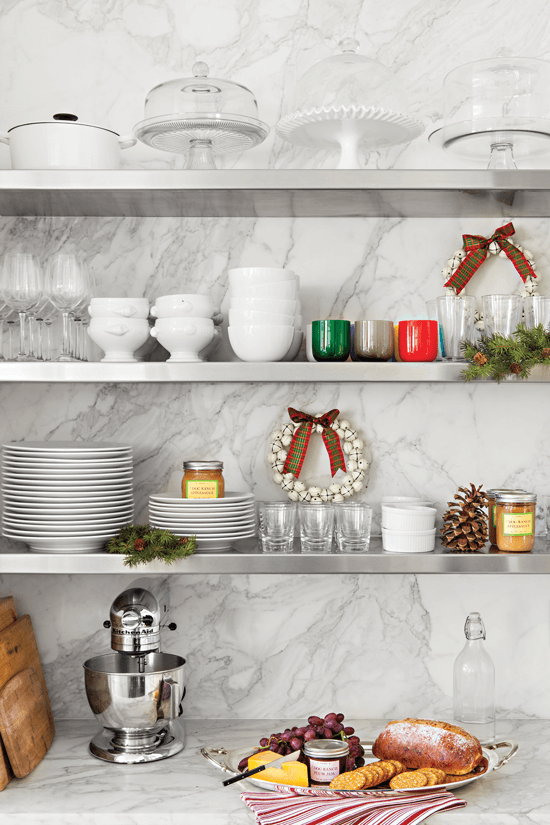 Open shelving in the kitchen allows for holiday décor and beautiful kitchenware to be displayed.