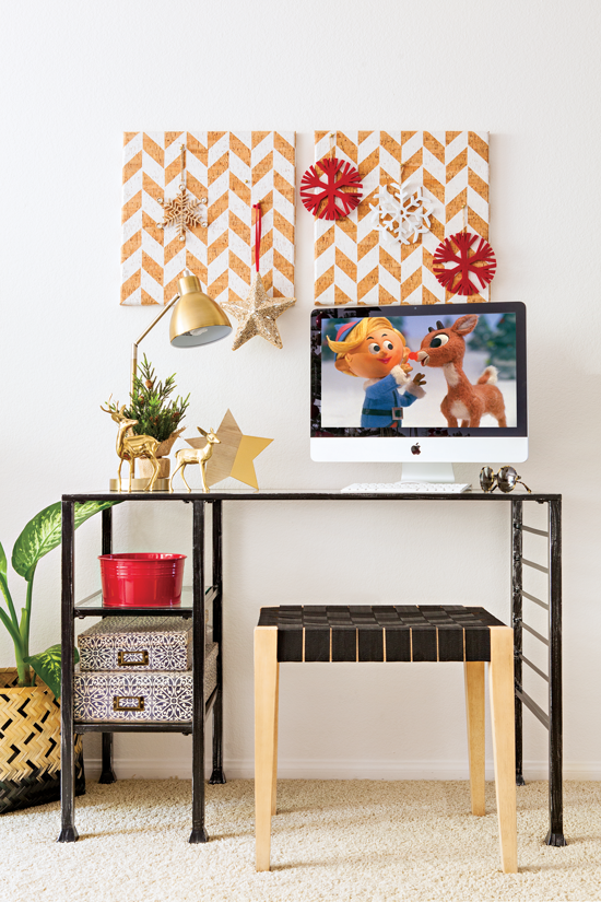 Simple home workspace decorated with holiday cheer.