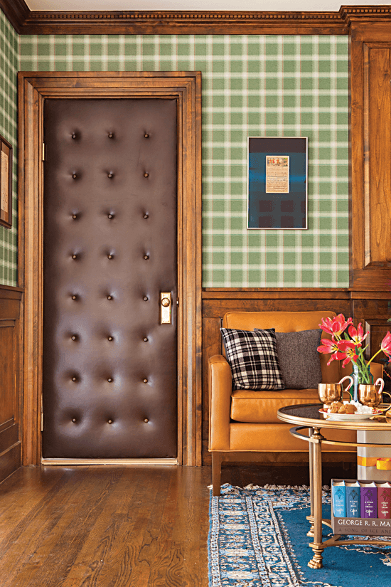 Leather-tufted door