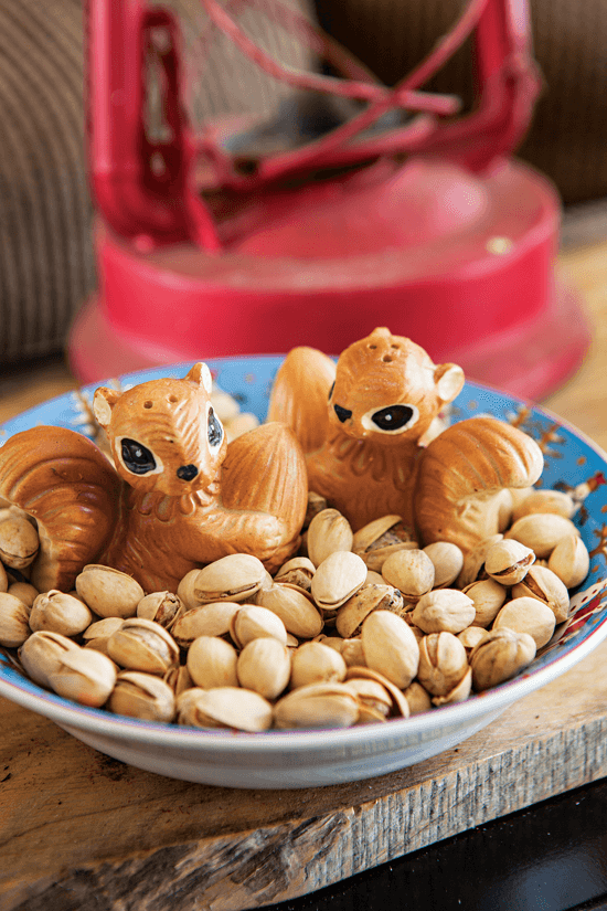 Vintage squirrel salt and pepper shakers seem right at home nestled into a snack bowl full of nuts.