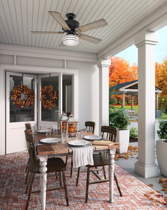 Setting the table in an outdoor space such as a porch or sunroom allows everyone to enjoy conversation, crisp air and fall foliage, so consider having your meal outside this year instead of in the dining room. Finish the space off with the Cedar Key ceiling fan from Hunter Fan, shown here.