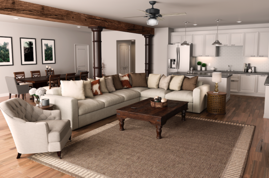 Open concept living and dining areas can get hot when crowded with friends, family and lively chatter. Cool the space down with the Brunswick Fan from Hunter Fan, shown here.