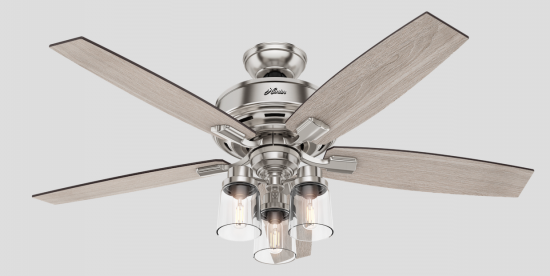 For a classic dining room look, choose a ceiling fan with a formal, but not stuffy, appearance. Our pick: the Bennett-3Light. A 13-degree blade pitch is optimized to ensure just the right amount of air movement around a table.