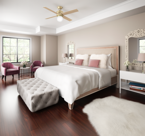 Dazzle friends and even the pickiest Instagramming sister with a gorgeous guest room. How? A Hepburn ceiling fan. Named after Hollywood icon Audrey Hepburn, the fan is sleek and polished, with an understated midcentury style that bumps up the glam factor.